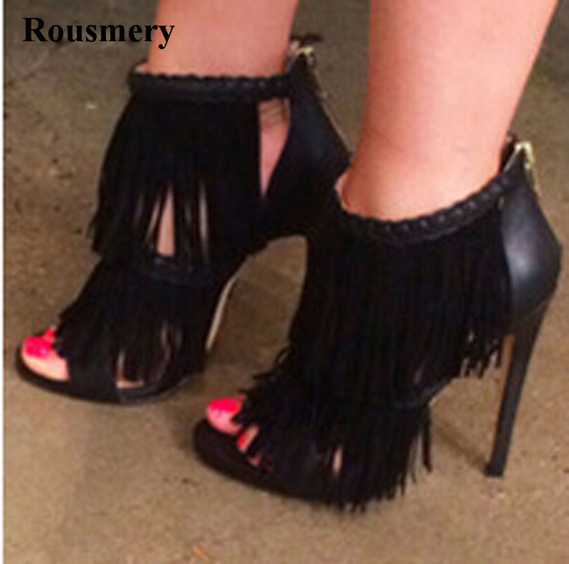 New Design Women Fashion Open Toe Tassels Gladiator Sandals Back Zipper-up Thin Heel Ankle Sandals Formal Dress Shoes new women sandals gladiator casual flat heel shoes women fashion back strap peep toe flats heel sandals zipper rome women shoes