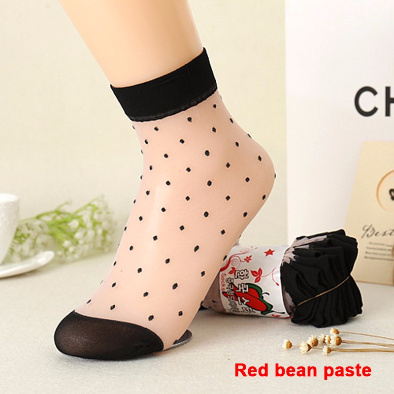 2016 Autumn Women Socks Crystal Silk Transparent Thin Socks Female Dot Candy Color Socks New Women's Clothing Wholesale 10 Pairs (8)