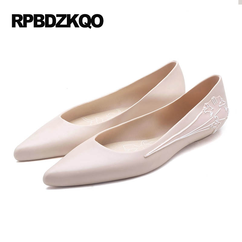 Flower Cheap Shoes China Navy Blue Pointed Toe Floral Flats Mori Girl Beautiful Jelly Women Pink Green Nude Slip On Latest women shoes flats brown coffee green blue 100