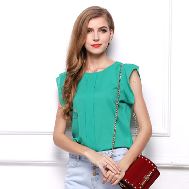 Casual Women Chiffon Summer Top and Blouses Sleeveless Butterfly Sleeve Female Top Shirt