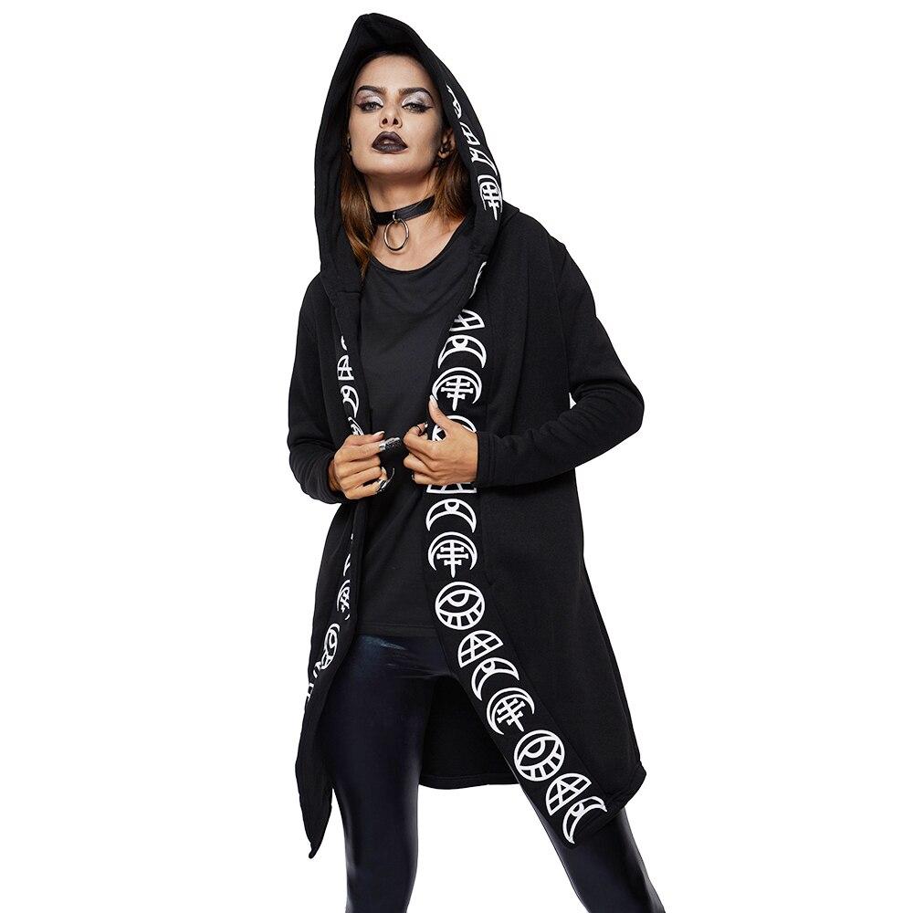 2019 Frühling Gothic Casual Kühlen Chic Schwarz Plus Größe Frauen Sweatshirts Lose Baumwolle Mit Kapuze Plain Drucken Weibliche Punk Hoodies Hexe Exquisite Handwerkskunst;