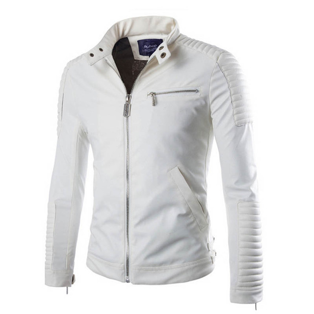 White Leather Jacket Men Polyester Lined PU Motorcycle Suede Jackets Male Slim Fit Mens Quilted Stand Collar Biker Coats