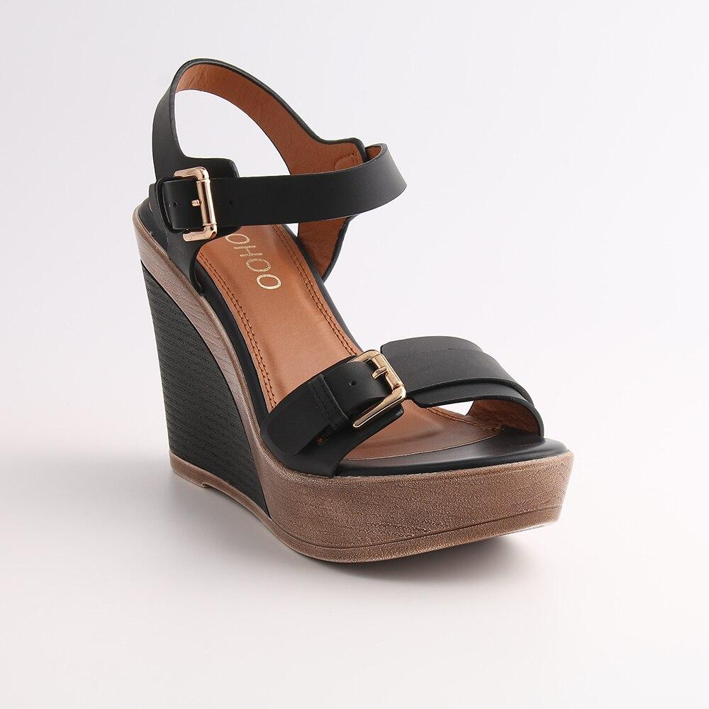 Chaussures Solide À Plate Semelle camel Sandales Hauts Pu forme Bleu Léger blue Cuir Noir En Black Talons Sangle Boucle Femmes Compensées Souple l1cFTKJ