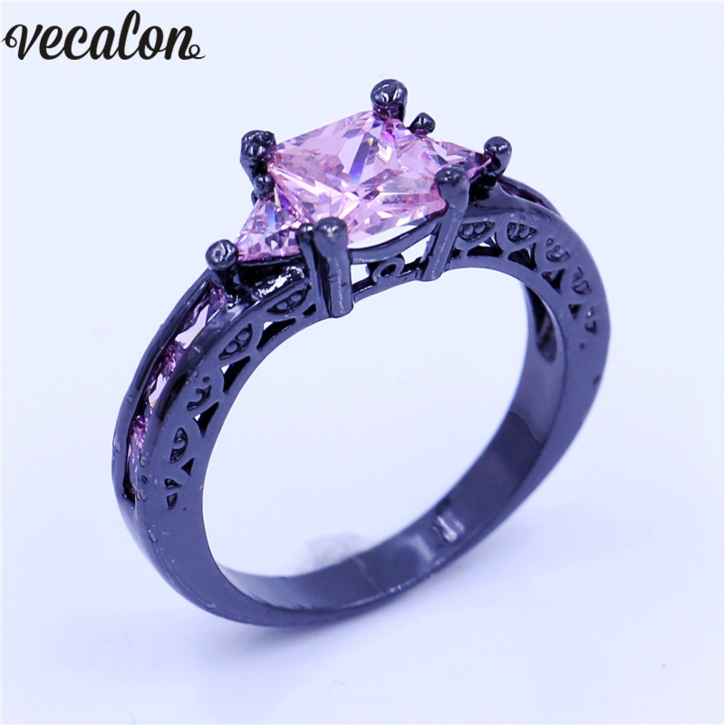 Vecalon Hollow Antique ring Pink AAA Cz Stone Black gold Filled Fashion Anniversary wedding ring for women men Gift R1527