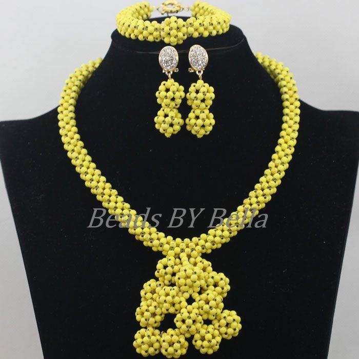 New Design Yellow Stone New Beads Jewellery Set Nigerian Wedding ...