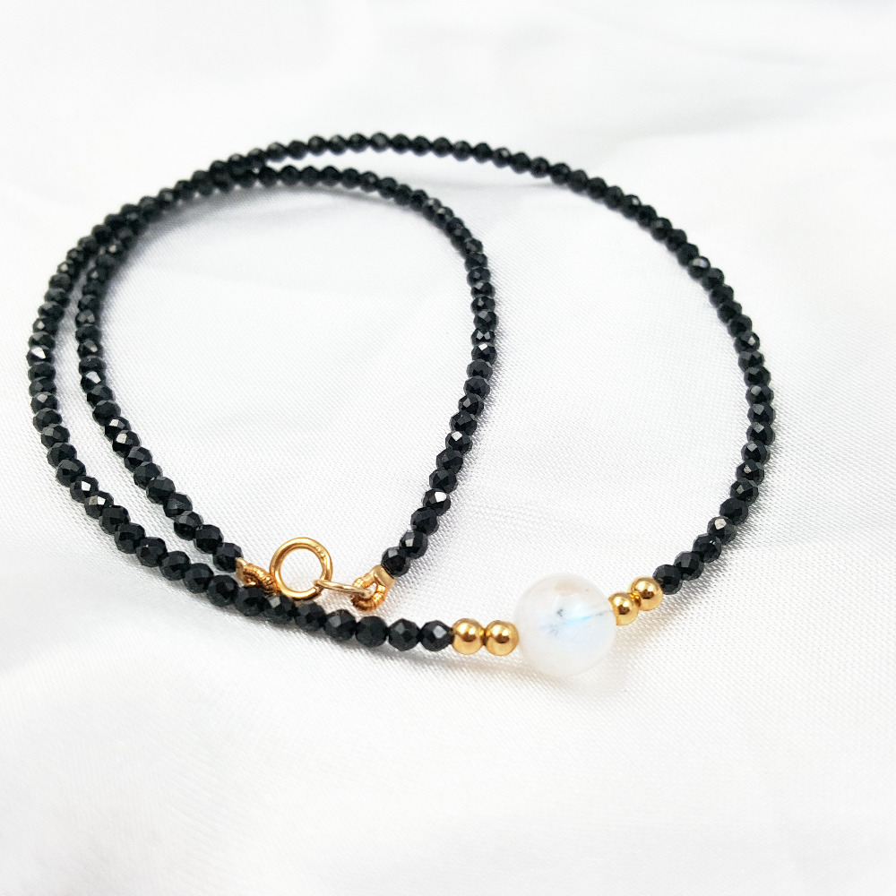 Lii Ji Natural Black Spinel 1-2mm AAA Moonstone 925 sterling silver 18K Gold Color Choker Shining Necklace (Only Necklace)