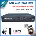 HD 8 canais AHD 720 P 25fps em tempo real HDMI 1080 P 8ch cctv wi-fi dvr Híbrido NVR gravador HI3521A para vigilância de vídeo em casa sistema