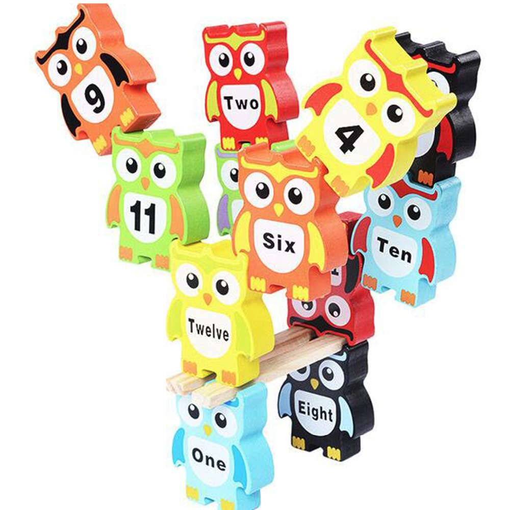 DIY Wooden Block Owl Stack Balance Stacking layer Piles Kids Educational Toy-in Blocks from Toys