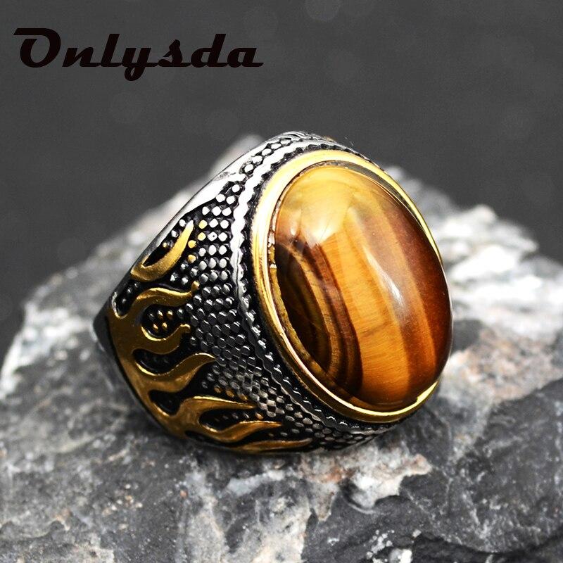 Atacado de aço inoxidável retro antigo oriente médio estilo árabe pedra opala anel jóias para homens presente casamento jóias osr110