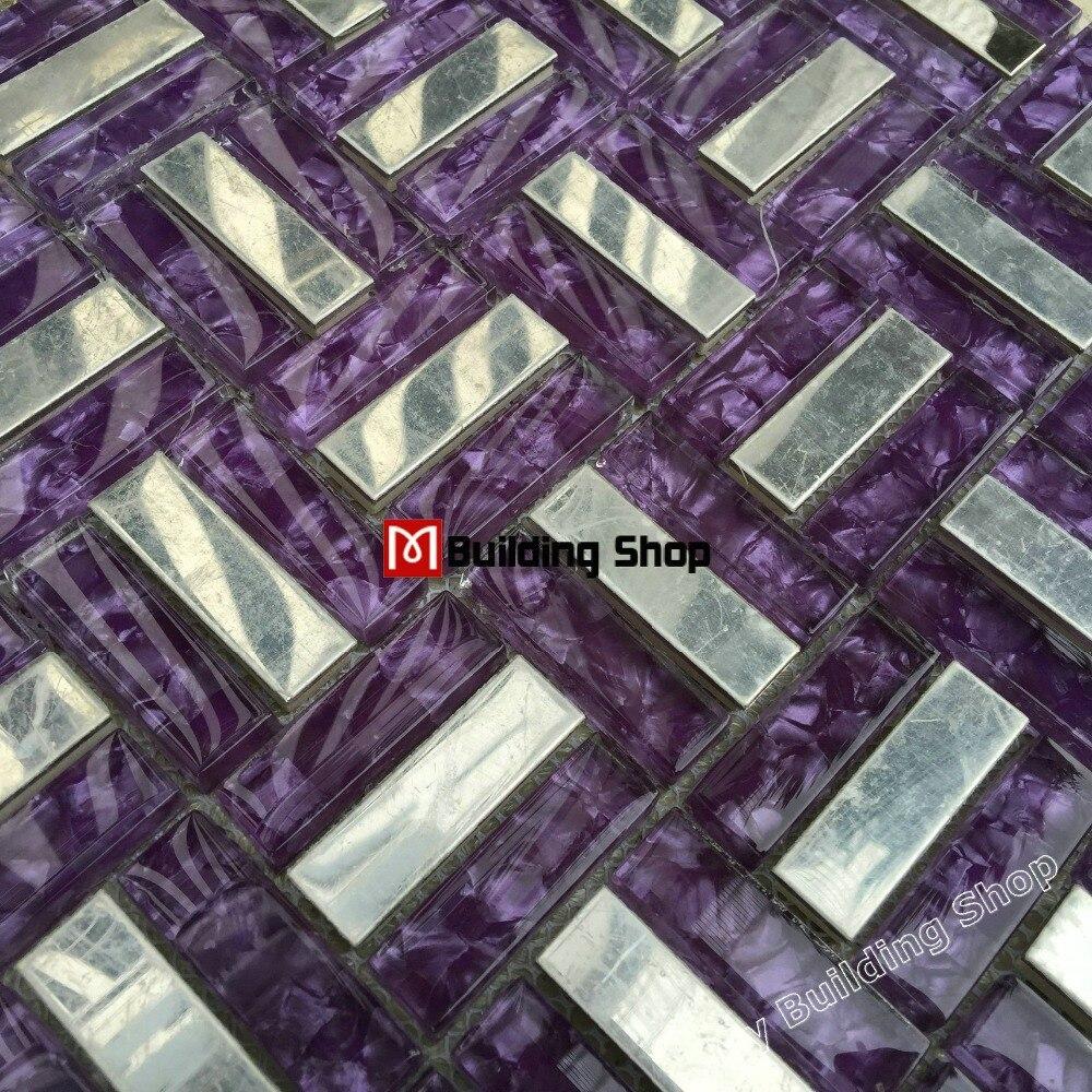 Purple Kitchen Backsplash Aliexpresscom Buy Purple Glass Mosaic Stainless Steel Tile