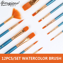 цена на 12Pcs/Set Watercolor Gouache Paint Brushes Different Shape Round Pointed Tip Nylon Hair Painting Brush Set Art Supplies