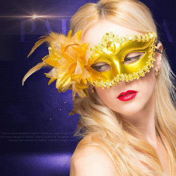 Masquerade Sexy Diamond Venetian Mask Venice Feather Flower Wedding Carnival Party Performance Purple Costume Sex Lady Mask