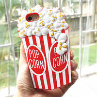 3D Popcorn Soft Silicone phone case For iPhone 7 8 6 6s plus XS MAX XR X Fashion Pop Corn phone bag Fundas Rubber back cover