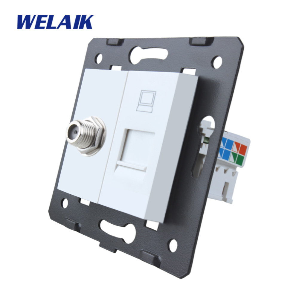 WELAIK EU Standard satellite and computer Socket DIY Parts White Wall satellite and computer parts Without Glass Panel A8SACOW zhili sun satellite networking principles and protocols