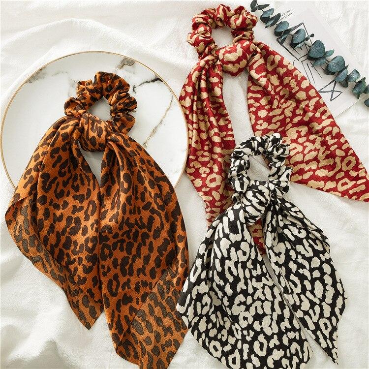 Fashion Girl Summer Hair Scarf Scrunchie Leopard Print Rubber Hair Ties Chiffon Elastic Hair Bands Hair Accessoiries For Women(China)