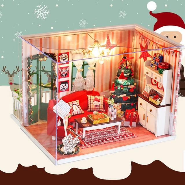 Monteer DIY Poppenhuis Meubels Houten Poppenhuis speelgoed met ...