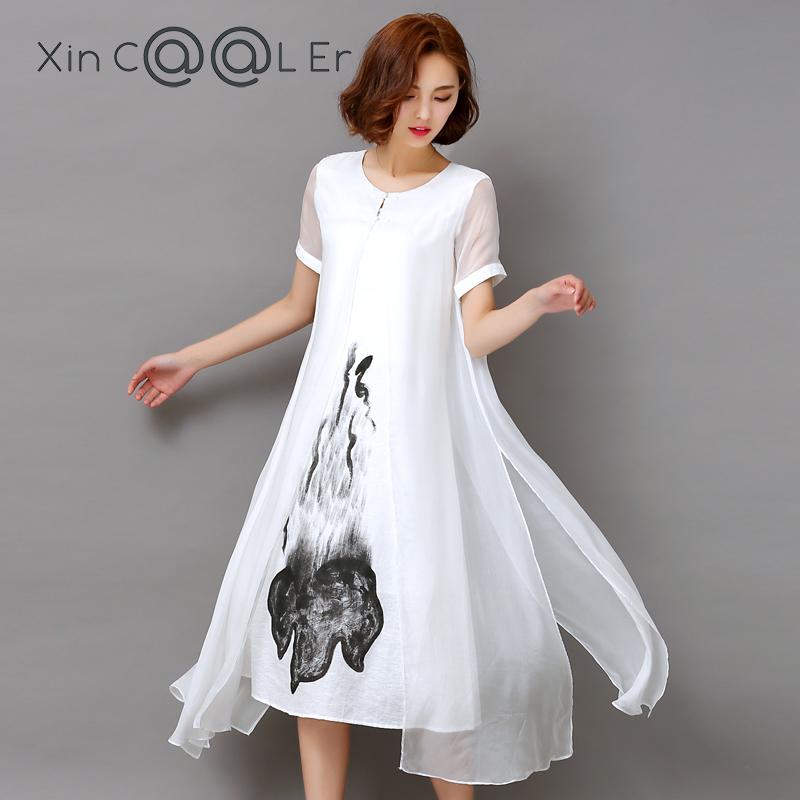 Fashion2017 New Summer Autumn White Black Ink Print Women Long Dress Retro Short Sleeve Cotton Linen Designs Casual Dresses Slim