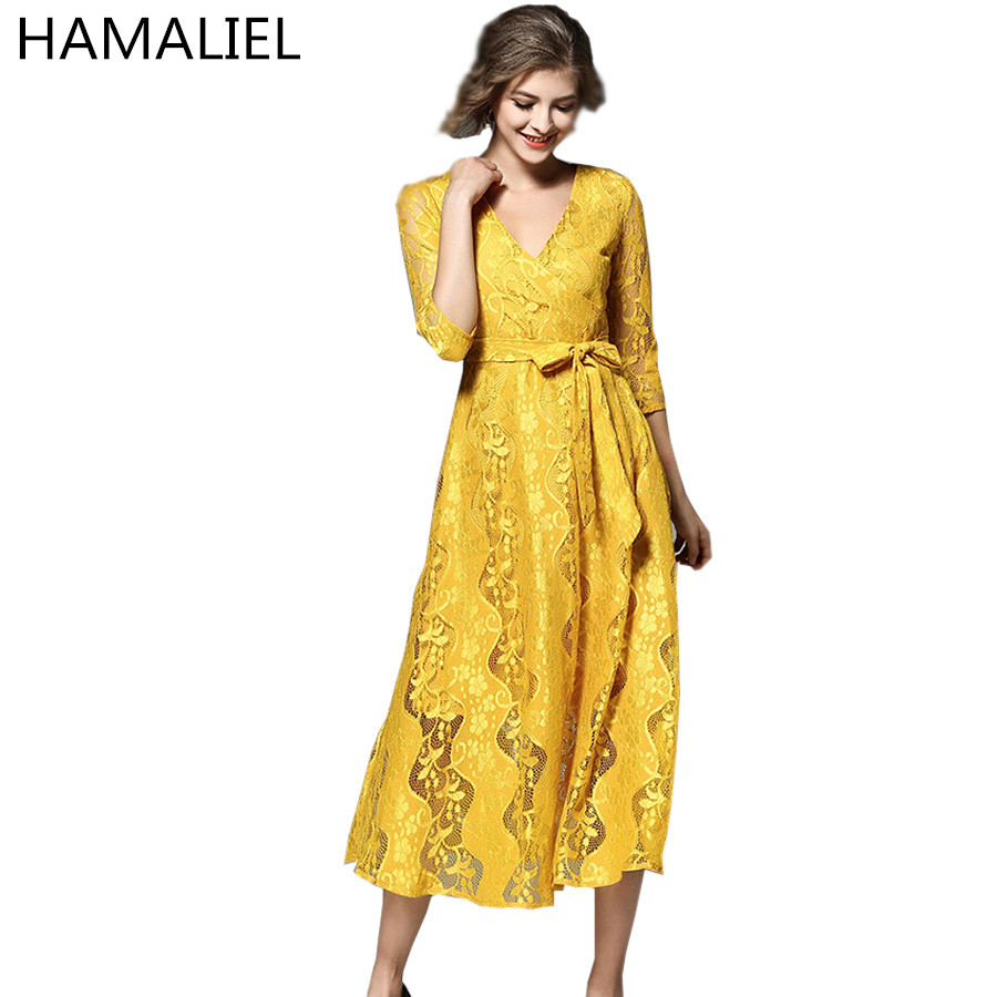 Vestidos Fashion Spring Women Lace Dress 2018 Elegant Solid Yellow Hollow Out Bow Ladies Three Quarter V Neck Party Long Dess