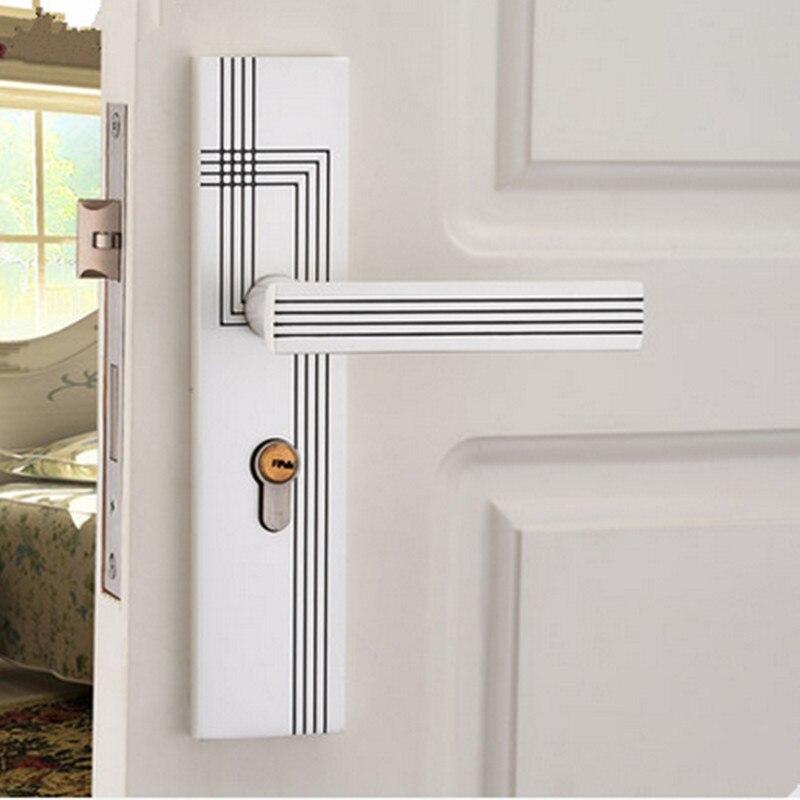 modern European ivoy white luxury bed room handle lock wood stainless wood door lock 2 latchs pearl white indoor handle lock
