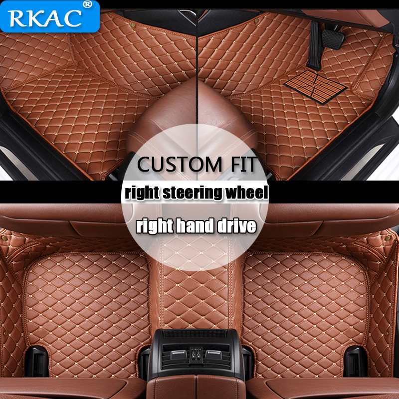 RKAC For right hand drive Custom car floor mats for <font><b>Audi</b></font> a6 c7 a5 q3 tt cc <font><b>a3</b></font> 8v a4 b7 b8 b9 q7 q5 car styling car <font><b>accessories</b></font> image