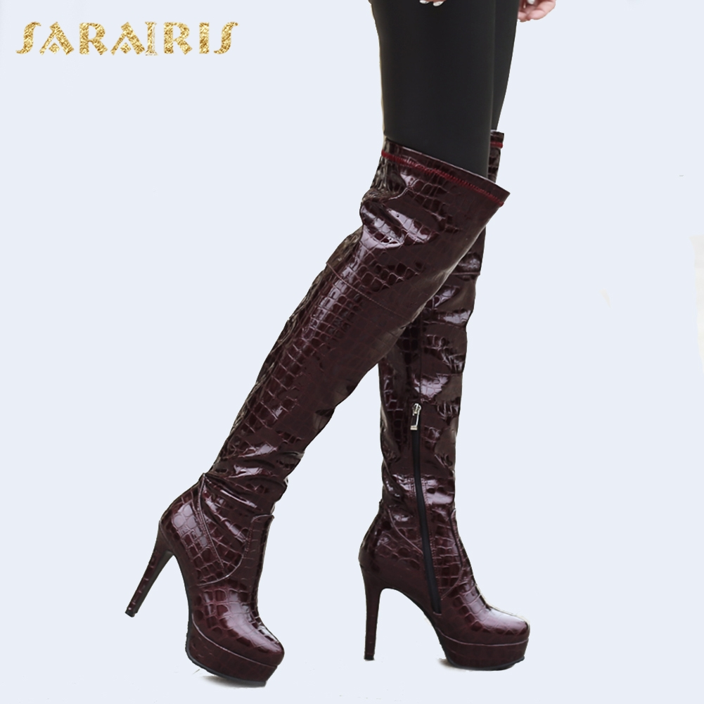 Hiver Chaud Talons vert Sarairis En 2018 Le Taille Femmes Chaussures Partie Genou Plus Hauts 46 Femme Rouge Peluche Minces vin 32 Bottes Noir Sur n4fT8fX1