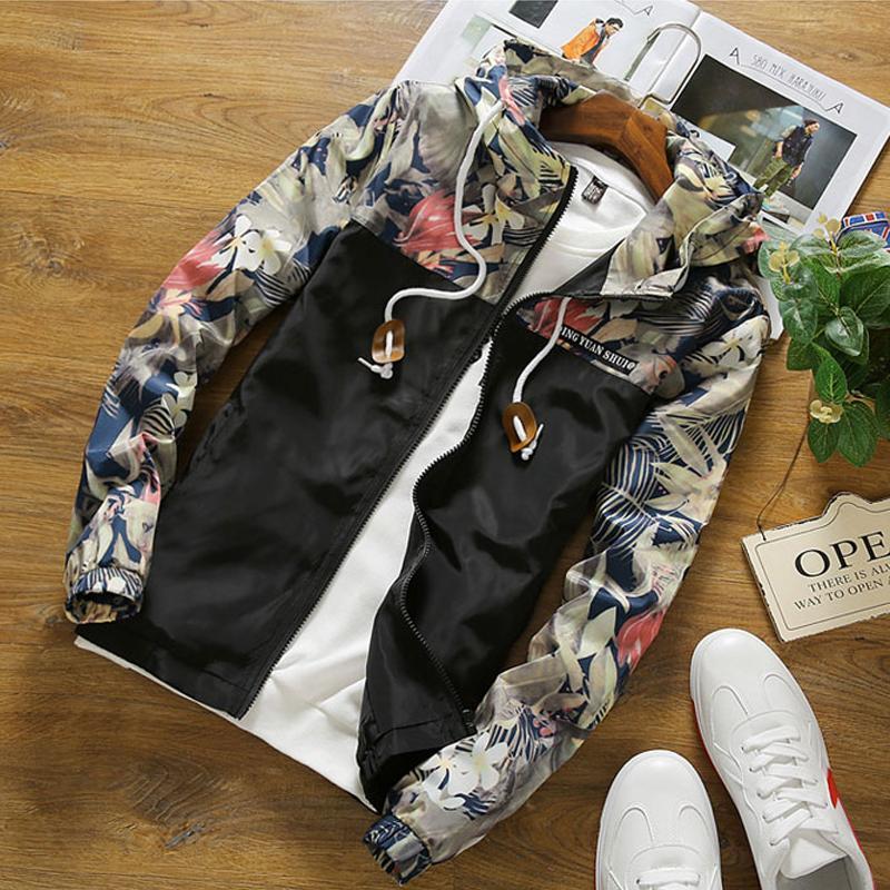 Drop Shipping Floral Bomber Jacket Men Hip Hop Slim Fit Flowers Pilot Jacket Coat Men's Hooded Jackets Us Size Free Shipping #2