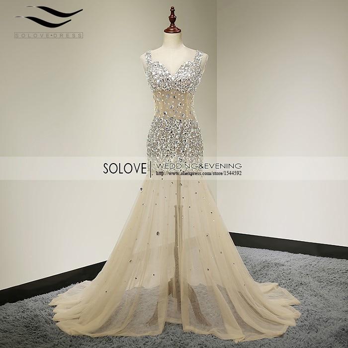 딥 브이 넥 오픈 샴페인 무거운 골치 아픈 건 블론드 - 특별한 날을위한 드레스