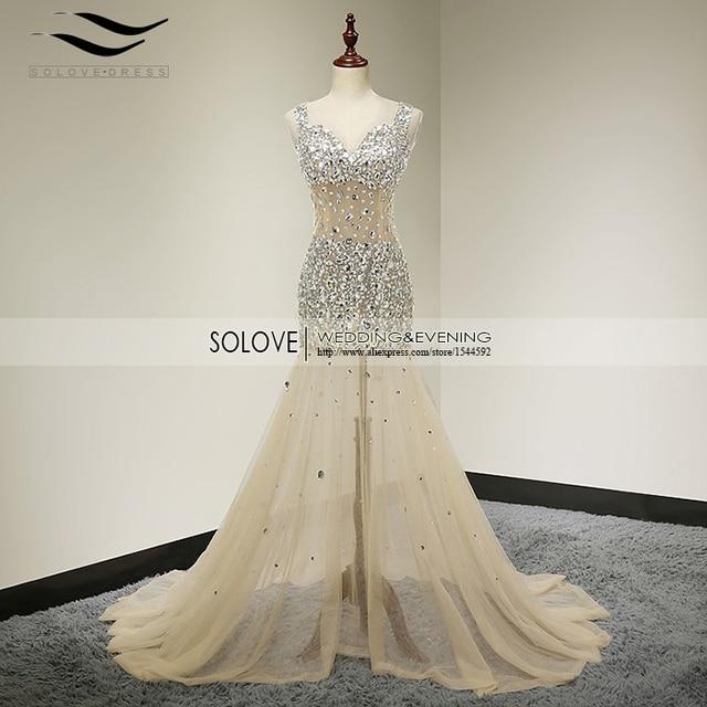 Deep V neck Open Back Champagne Heavy Beaded Bling Bling Mermaid Sexy Prom  Dress 2018 vestidos de fIesta Evening Gowns (SL-P24) 53feb16f940c