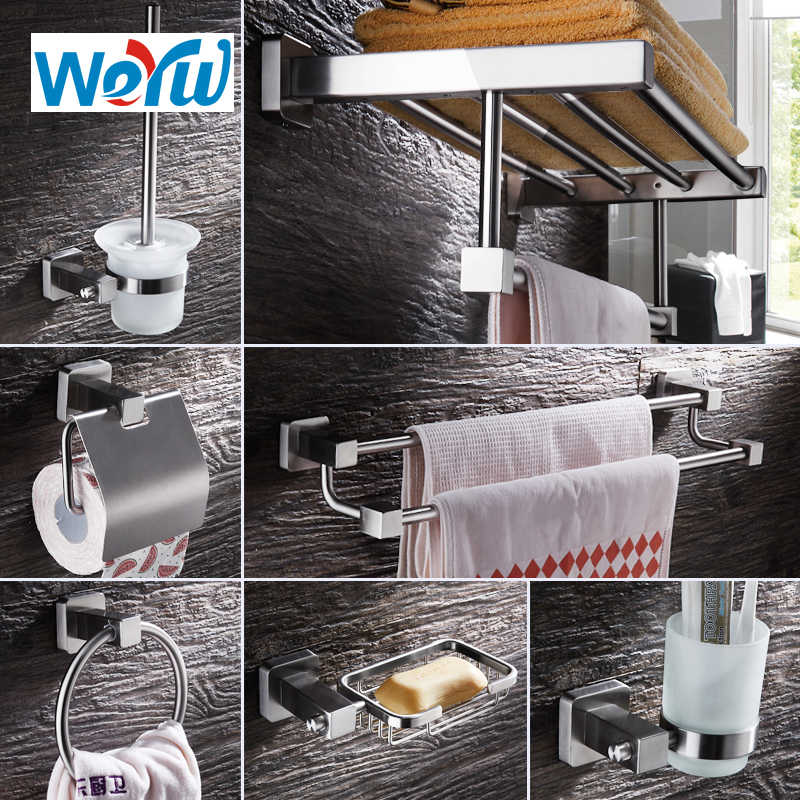 WEYUU Bathroom accessories Robe Hooks Towel Rack ,Toilet Brush Holder Bathroom Series Stainless Steel Bathrooms Hardware Sets