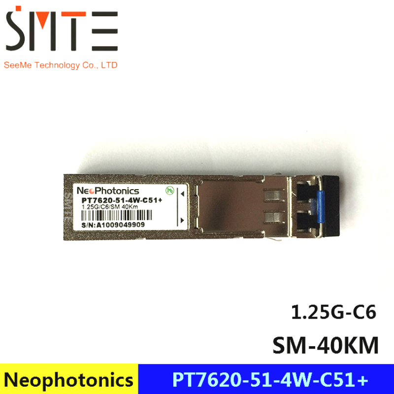 Neophotonics PT7620-51-4W-C51+ 1.25G-C6-SM-40KM Gigabit module Fiber optical transceiverNeophotonics PT7620-51-4W-C51+ 1.25G-C6-SM-40KM Gigabit module Fiber optical transceiver