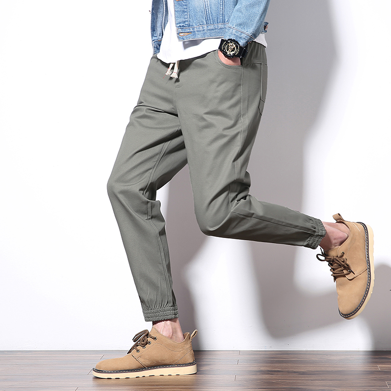 Mens Cargo Pants Cotton Comfortable Solid Pencil Pants Drawstring Black Gray Joggers Fashion Casual Streetwear Trouser BINHIIRO