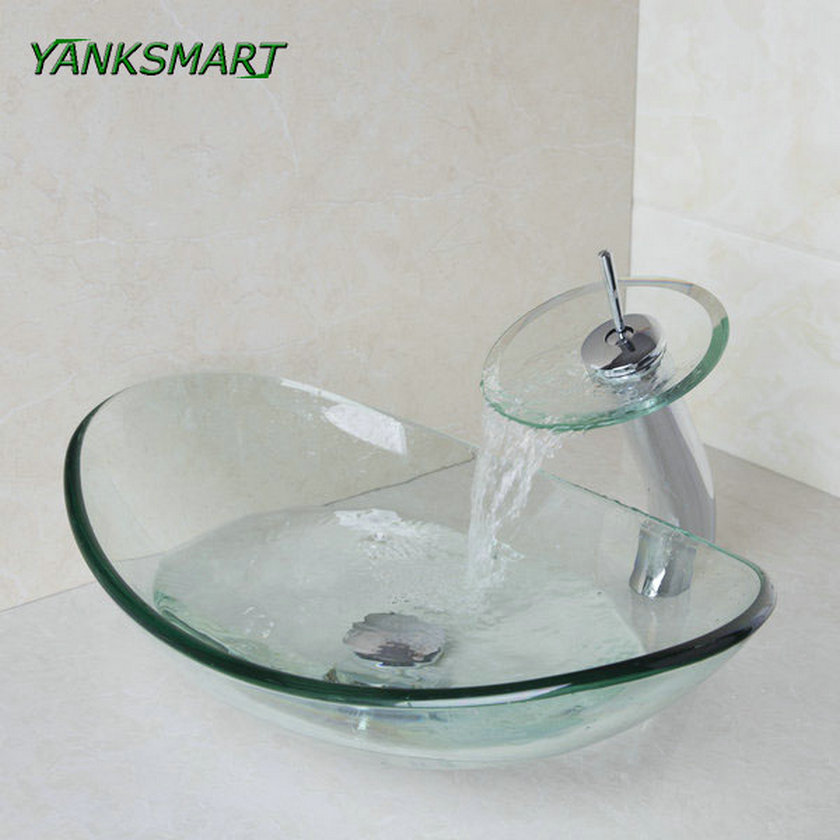YANKSMART Oval Transparemt Washroom Basin Vessel Vanity Sink Bathroom Mixer Tempered Glass Basin Washbasin Faucet Set
