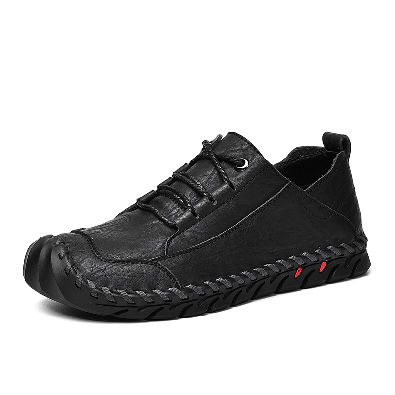 Men Outdoor Casual Shoes Cowhide Genuine leather Men s Rubber Shoes Male Jogging Male Sneakers Black