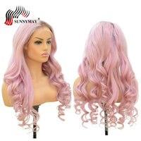 Sunnymay #4/Розовый Ombre полный шнурок человеческих волос парики перуанский Девы волос свободная волна предварительно сорвал волос парики с ребе