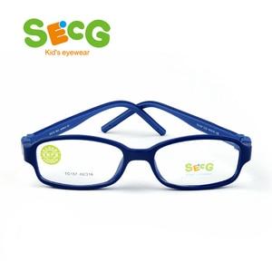 Image 2 - SECG TR90 Ультралегкая мягкая гибкая безопасная детская рамка Lunettes De Vue Enfan Рамка для близорукости для мальчиков и девочек унисекс резиновая лента