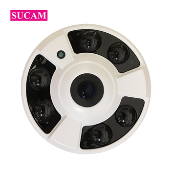 SUCAM 6 Array IR Leds Metal 360 Degree IP Fisheye Camera Indoor 2MP 4MP Wide Angle Security CCTV Infrared IP-Cameras 20M IR