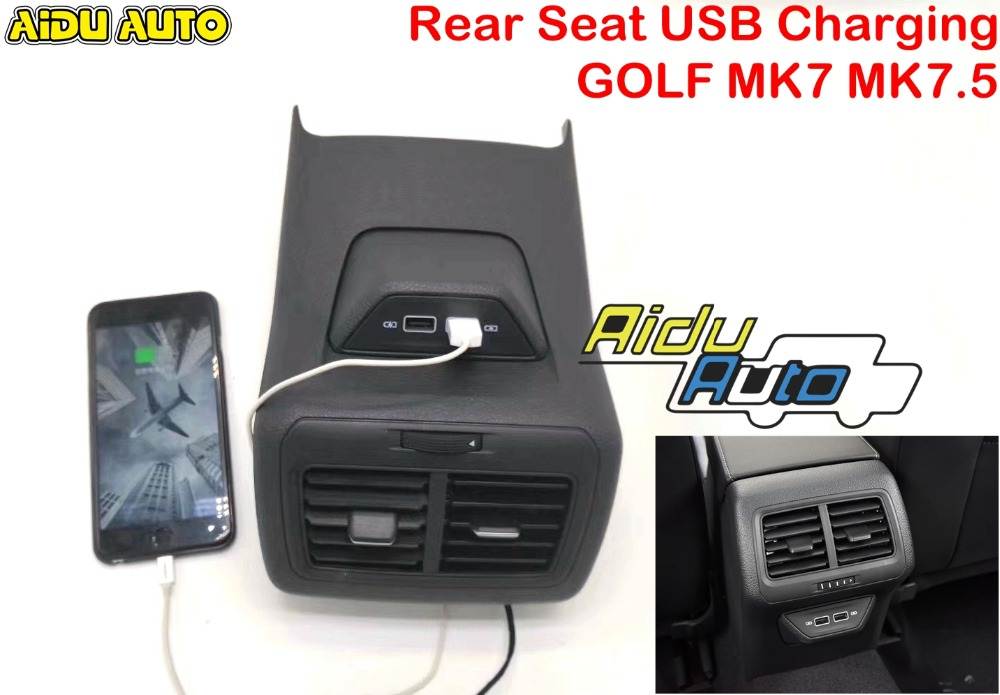 FOR LHD Golf 7 7.5 MK7 MK7.5 Rear Seat Double USB Charging