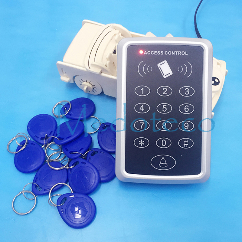 Special Price Free shipping+10 rfid tag+RFID Proximity Card Access Control System RFID/EM Keypad Card Access Control Door Opener free shipping waterproof metal rfid access control touch keypad with green backlight and wg26 34 for door access control system