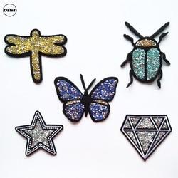 1 pcs Papillon De Forage Chaude dessèche Brodé Fer sur les Patchs pour les Vêtements BRICOLAGE Motif Rayures Vêtements Autocollants Diamants Badges