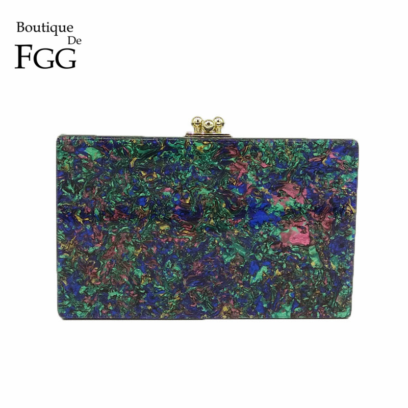 Boutique De FGG Marble Print Women Acrylic Evening Bag Box Clutch Hard Case Ladies Casual Chain Shoulder Crossbody Handbag Purse figure print chain bag