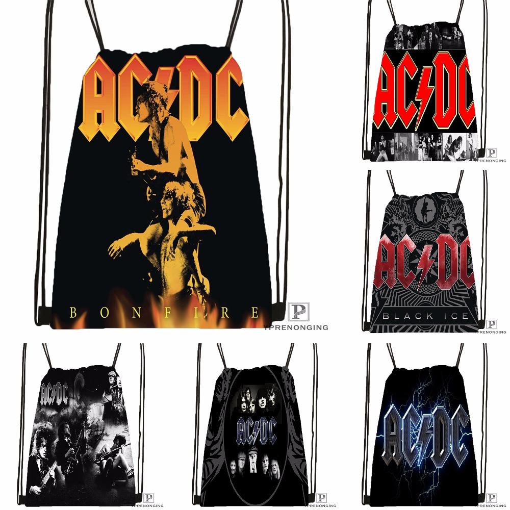 Custom Music Band Acdc Drawstring Backpack Bag Cute Daypack Kids Satchel (Black Back) 31x40cm#180531-03-54