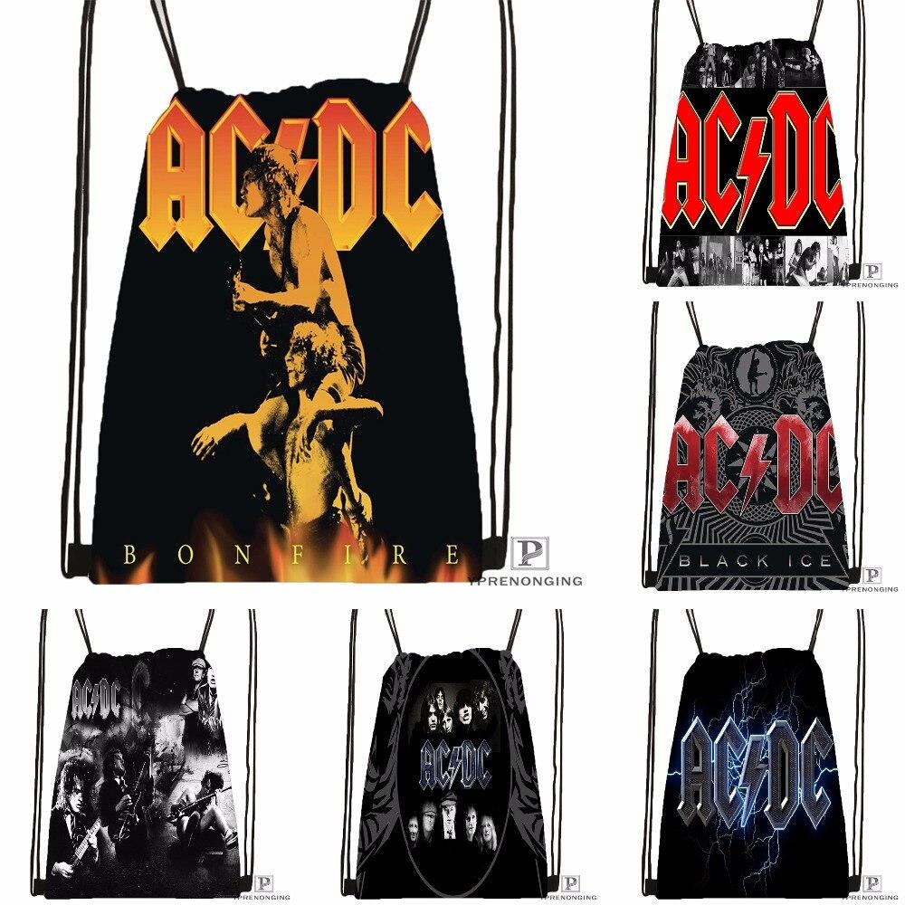 Custom Music Band Acdc Drawstring Backpack Bag Cute Daypack Kids Satchel (Black Back) 31x40cm#180531-03-54