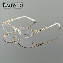 نظارات ميتيل خليط معدني نصف حافة إطار بصري وصفة طبية للنساء نظارات قراءة قصر النظر زهرة العين نظارات الأرجواني الأزرق 52223