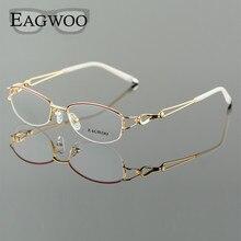 Metal alaşım gözlük yarım jant optik çerçeve reçete kadınlar gözlük okuma miyopi çiçek göz gözlükleri mor mavi 52223
