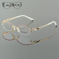 Metel Alloy Eyeglasses Half Rim Optical Frame Prescription Women Spectacle Reading Myopia Flower Eye Glasses Purple