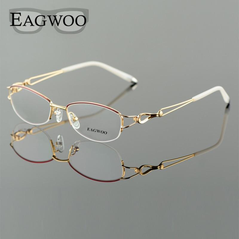 Metel Alloy  Eyeglasses Half Rim Optical Frame Prescription Women Spectacle Reading Myopia Flower Eye Glasses Purple Blue  52223-in Women's Eyewear Frames from Apparel Accessories