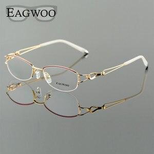 Image 1 - Metel liga óculos metade aro armação óptica prescrição feminino óculos de leitura miopia flor óculos de olho roxo azul 52223