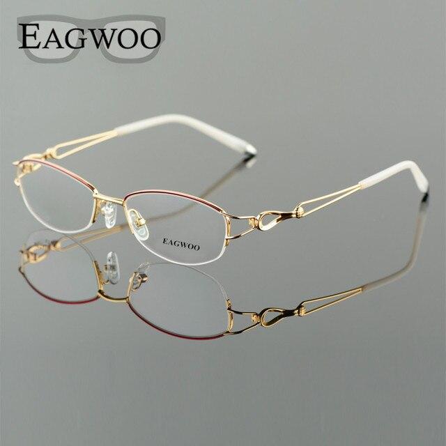 Metel liga óculos metade aro armação óptica prescrição feminino óculos de leitura miopia flor óculos de olho roxo azul 52223