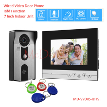 7 inch Video Door Phone Doorbell Home Security Intercom System RFID IR Night Vision Camera Door Bell System Home Security yobangsecurity home security video door phone system 7inch video doorbell door intercom rfid access control 1 camera 5 monitor