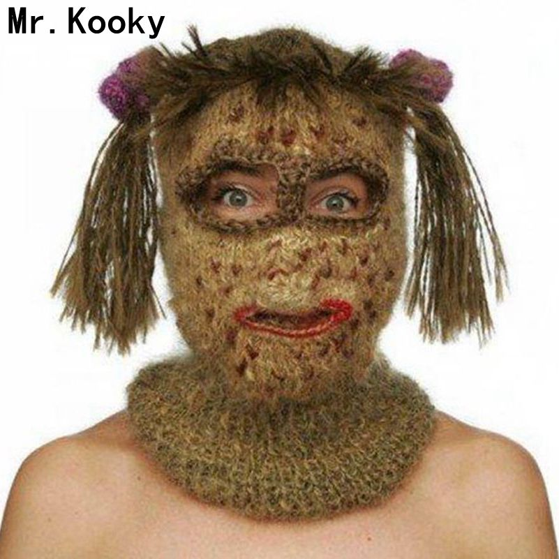 Mr.Kooky Crochet Kooky Mask   Beanies   Men's Women's Hats Funny Halloween Handmade Knitted Balaclava Birthday Xmas Gag Party Gifts